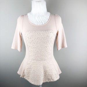 Deletta blush pink nubby knit Sequin peplum top